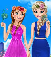 Elsa and Anna Spring Dress Up