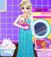 Elsa Washing Clothes Newborn