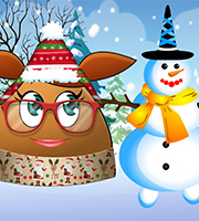 Pou Girl Building a Snowman 2
