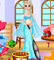 Pregnant Elsa Room Cleaning